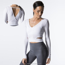 Women Sports T Shirts White Yoga Wear Tight Sports Long Sleeves Tank Top