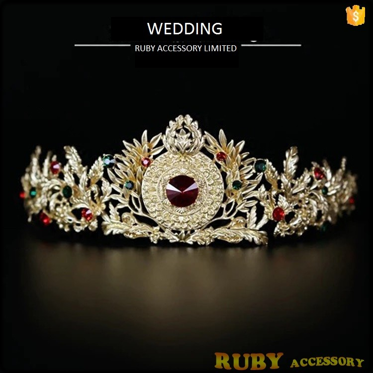 Luxurious Crystal Gold Leaf Rhinestones Diamonds Tiara Crown Wedding Hair Accessories Bridal Hair Jewelry T0001