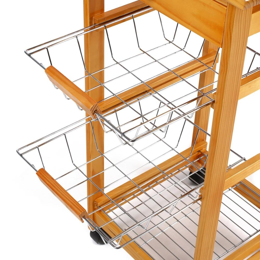 tile top wooden kitchen trolley 3