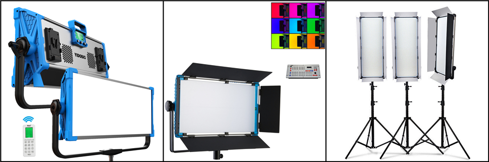 Yidoblo A-2200c RGB + AC Power Adapter LED Video Fotografie Panel Studio Licht 95ra met draadloze Bluetooth Remote