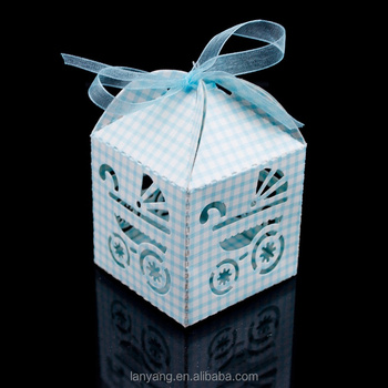 Blue White Checkered Baby Carriage Favor Candy Boxes Birthday Party