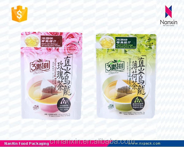 foil lined oolong tea packaging stand up pouch with zipper
