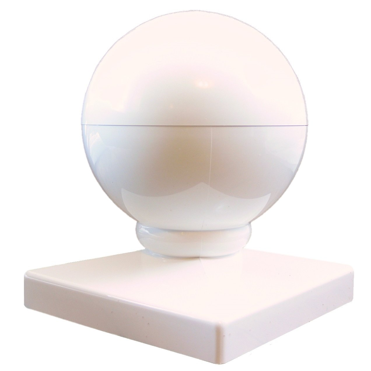 """Vinyl Fence POST CAP: 5"""" BALL CAP (5 Inch) Dome Style ~ White Vinyl Fence Parts ~ Fits over a 5x5 vinyl fence post (sleeve style post). Vinyl fence material is PVC and will not rot or fade."""