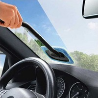 Microfiber Auto Window Cleaner Long Handle Car Wash Brush Dust Car Care Windshield Shine Towel Handy Washable Car Cleaning Tool