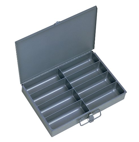 "Durham 213-95-IND Gray Cold Rolled Steel Individual Small Scoop Box, 13-3/8"" Width x 2"" Height x 9-1/4"" Depth, 8 Compartment"