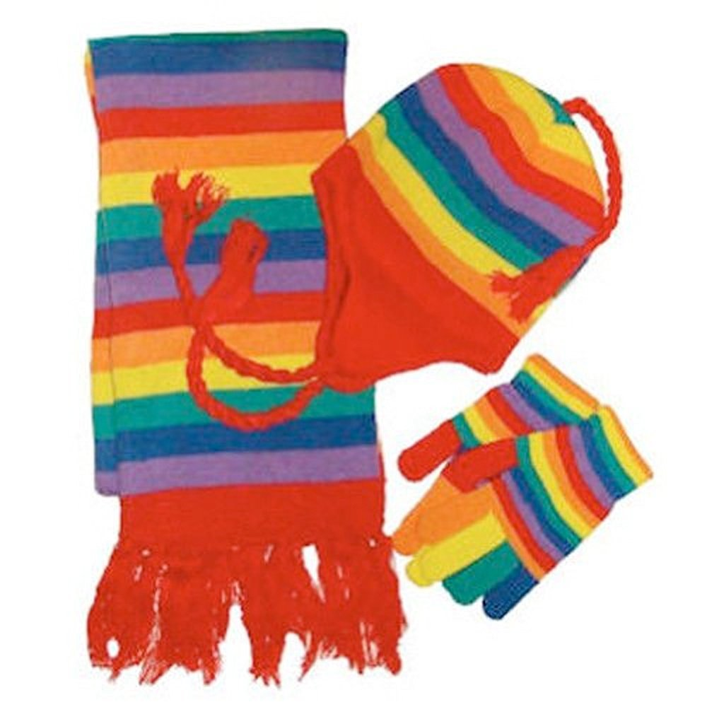 3pc. Rainbow Gay Pride Winter Gloves Scarf & Cap Hat Lesbian Gay Pride Flag Apparel