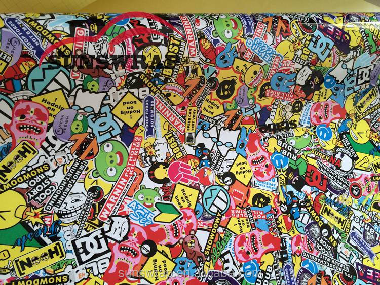 Car Wraps Sticker Bomb Decal Sheet Graffiti Film Cartoon Vinyl With Bubble Free