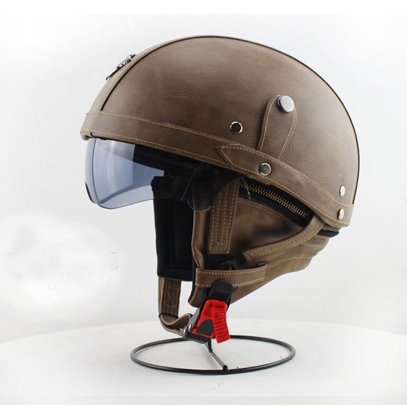 2016 Handmade Motorcycle Vintage Half Face Helmet With ...
