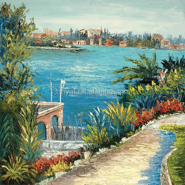 Handmade beautiful sea natural scenery art canvas oil painting for hotels bedroom cafe home living room decoration