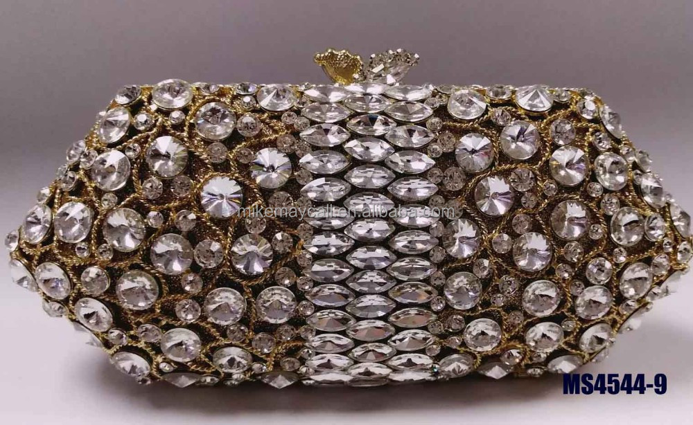 MS4544-9 New design Ladies Wedding Bag Gold handmade Clutches Purses with Crystal