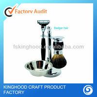 RS2016 best shaving gift kit 4 pieces set for men Mach triple blade razor badger brush stand stainless steel bowl