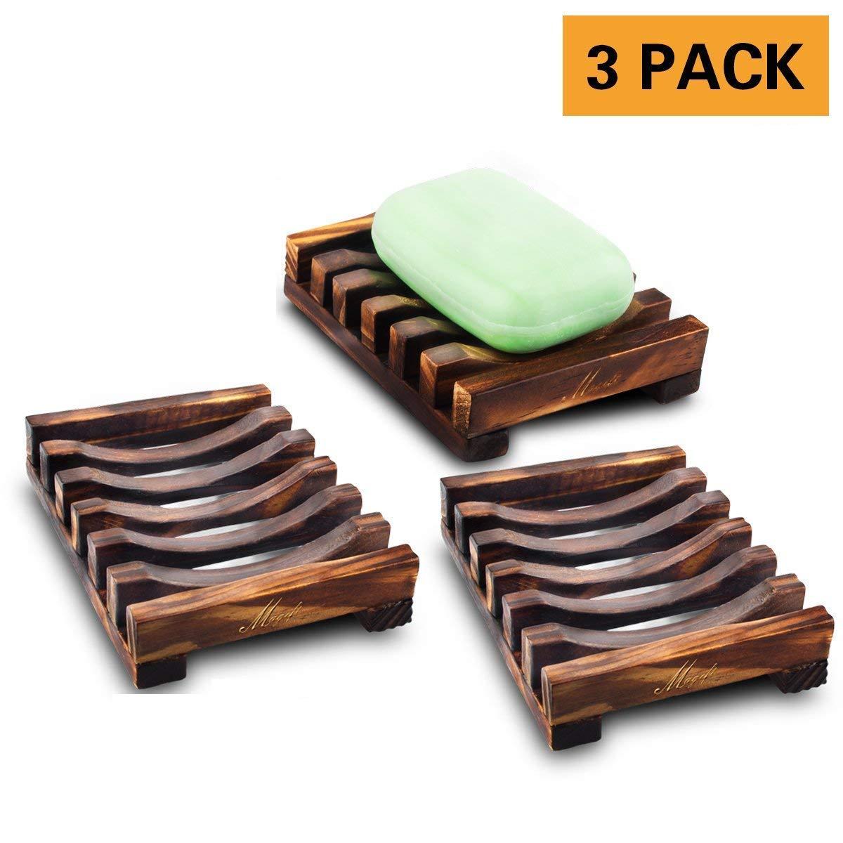 Bathroom Wooden Soap Dish, Sink Deck Bathtub Shower Soap Case Holder, Rectangular, Hand Craft, Natural Wooden Holder for Sponges, Scrubber, Kitchen Home (3 pack)