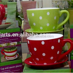 Alibaba & large ceramic flower pot teacup planters with polka dots