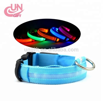 battery LED Flashing Light Safety Nylon Pet Dog Collar