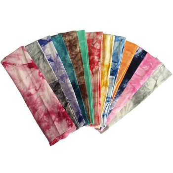 hot sell assorted colors teens girls dry quickly breathable and stretchy tie dye polyester sport yoga hairband