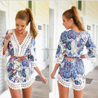 Guangzhou factory wholesale women dress v neck sexy mini dress floral and lace dress