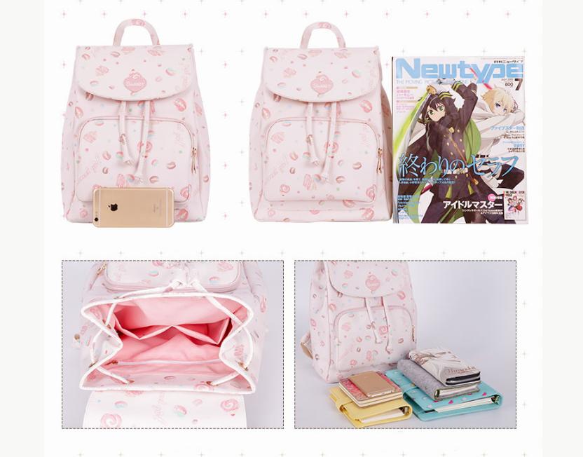 283b83d269b3 Sweet Lolita Lovely Pink Donuts Cake Dessert PU Backpack School Bag Girls  Kawaii