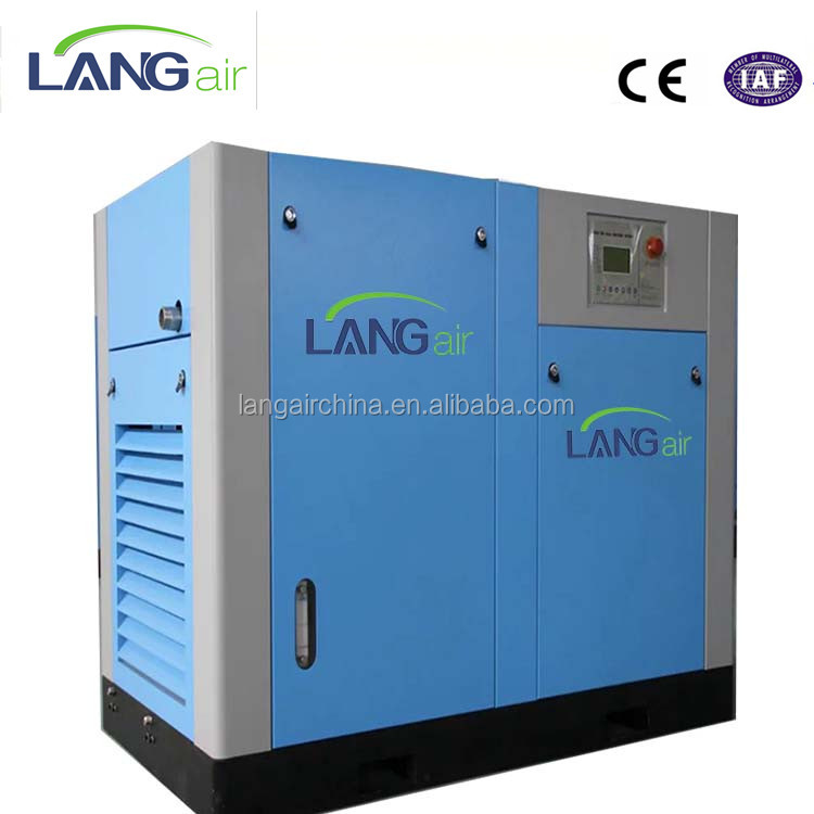 Power-Saving 20% 110 KW 150 HP Variable Frequency Inverter Conversion Direct Screw 8 Bar Air Compressor 45Kw 60Hp