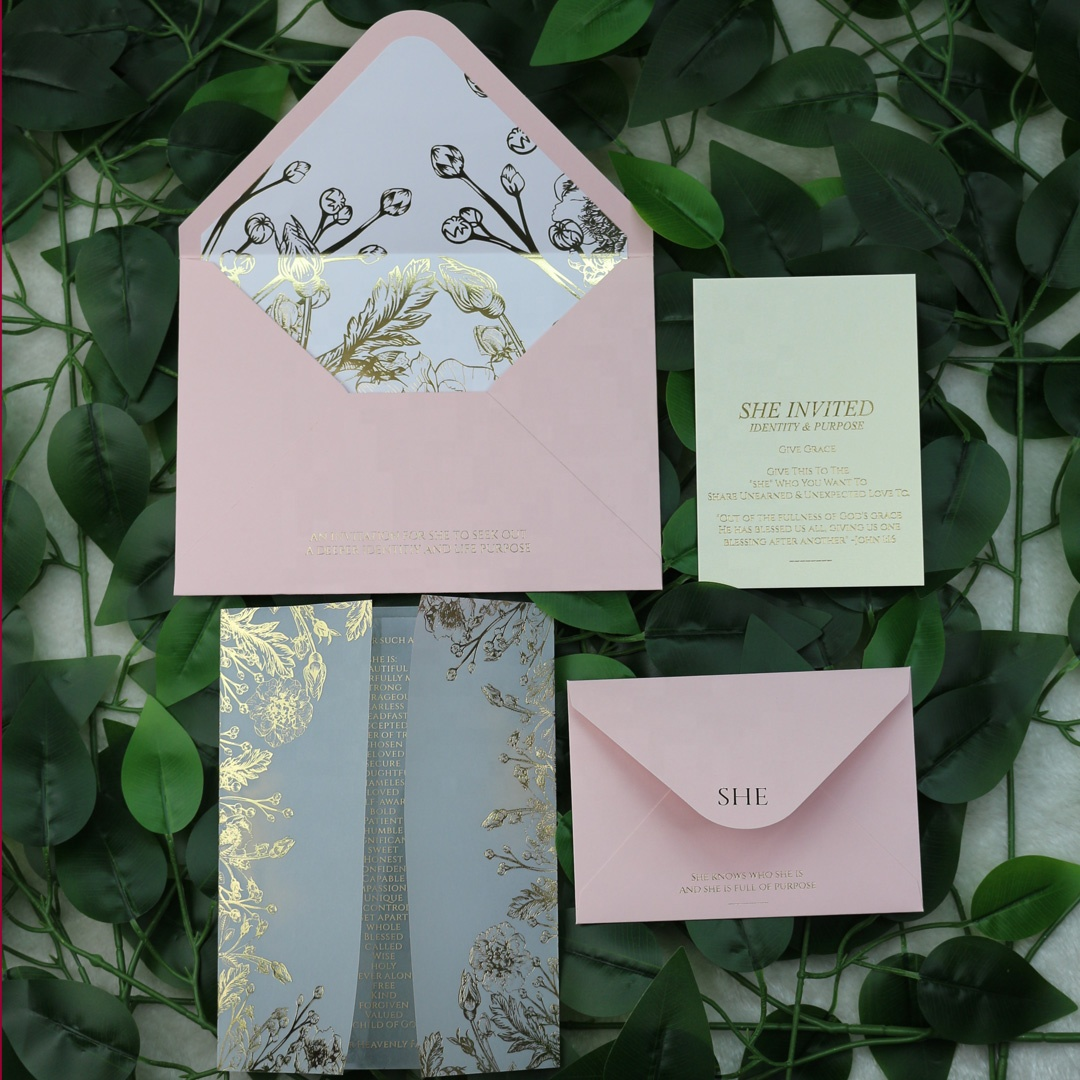 Personalised  Vellum Gold Floral Wedding Invitations with Acrylic Invitation Card