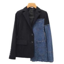 TWOTWINSTYLE Блейзер, сшитый из лоскутов, Для женщин с джинсовым воротником воротник плюс Размеры ассиметричное пальто женские весенние модные К...(Китай)