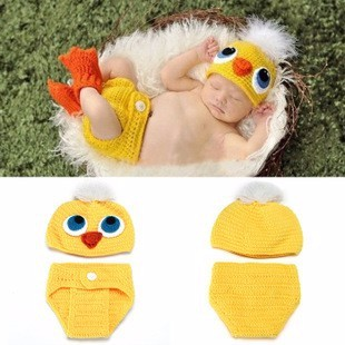 Baby Crochet The chicken Hat and Pants Set Photography Props Baby Crochet Aminal Beanie Photo Costume Set Knitted Hat