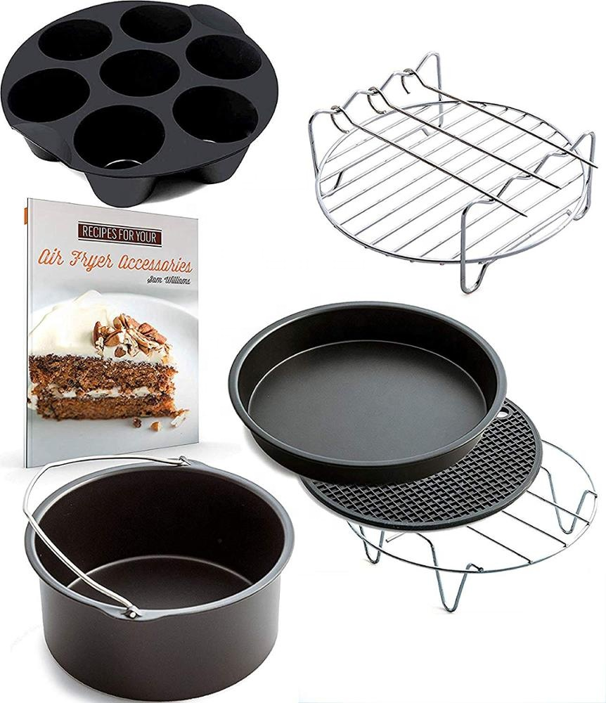 Air Fryer Accessories 8 Inch 7 Piece Set for 5.2-5.8QT Cake Basket Pizza Dish Double Grill