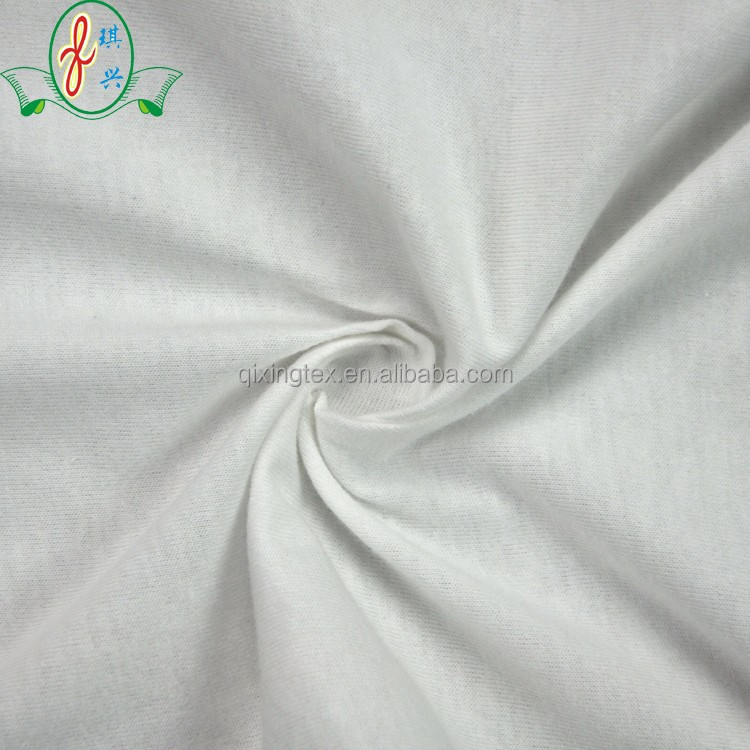 2018 new design knitted plain white 100 cotton fabric dyeing fabric
