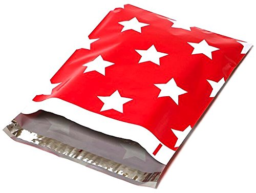 Poly Mailers Red Stars Designer Mailers Shipping Envelopes Red Boutique Custom Bags #SmileMail (100 10x13)