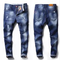 Stocklot Hot Sale 2017 Holes Washed Blue Denim Man Jean