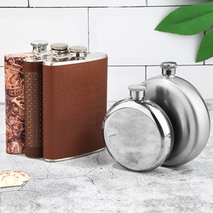 Wholesale Custom Logo Leak Proof 8 oz Round Leather Mini Wine Stainless Steel Hip Flask