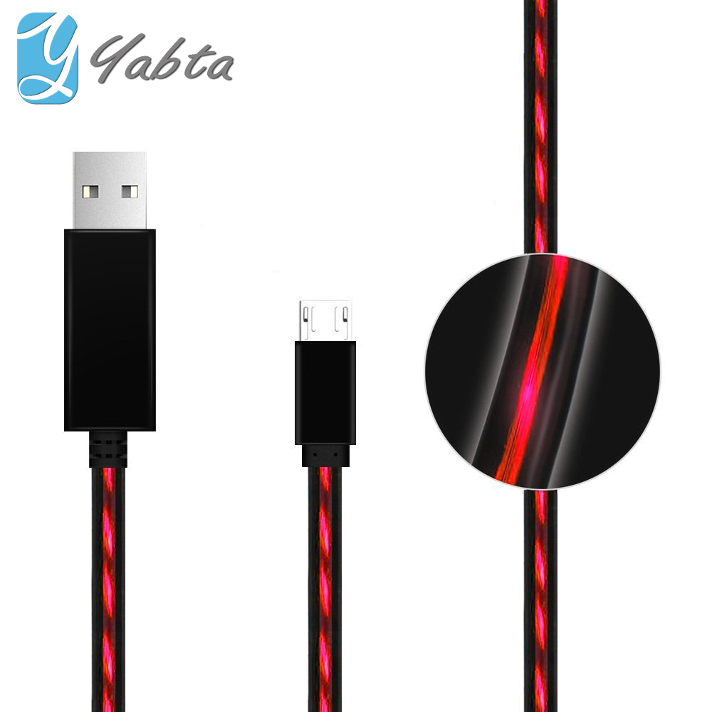 Glow illuminate fiber optic Red EL Light flowing usb data cable for apple 8 pin charge