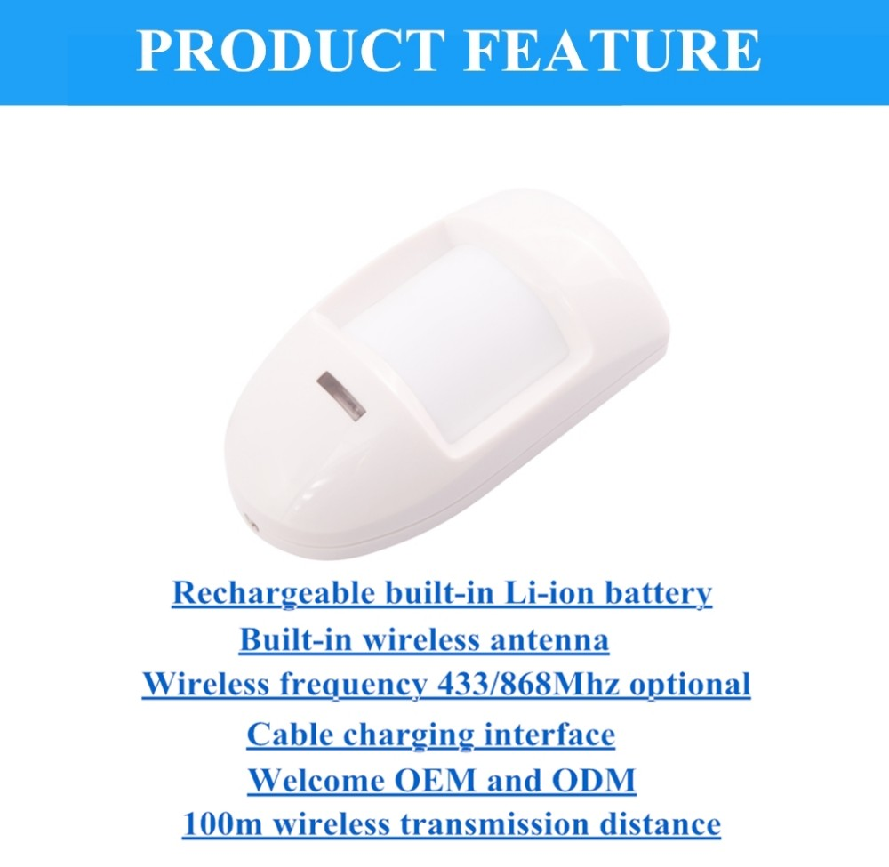 EB-191 Wireless 433Mhz/868Mhz Rechargeable Long Range PIR Detector