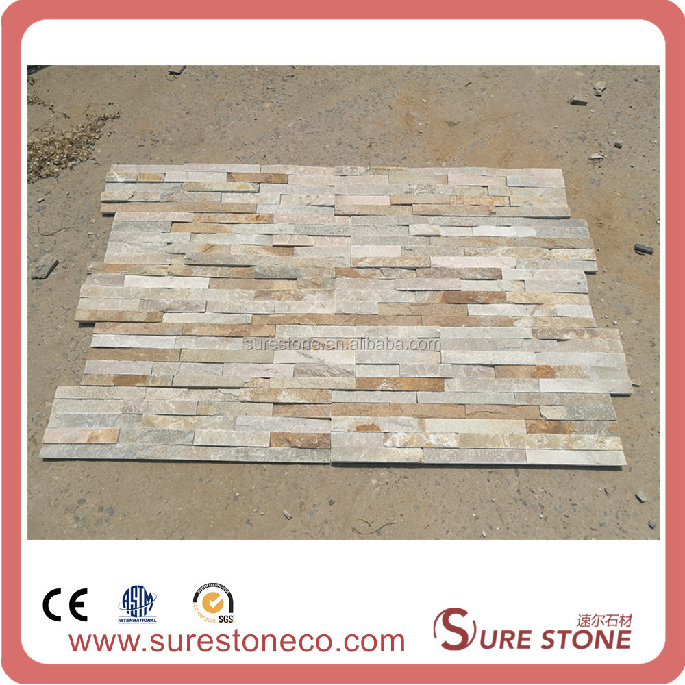 Beige Slate Cultured Stone Wall Cladding Panel