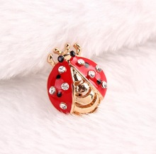 2015 Red Color Style Cute Ladybug beetle Enamel Insect Brooch