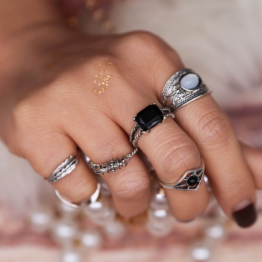 Black 6pcs/Set rings Bohemian Water Droplet Boho Beach Vintage Turkish Punk Finger Knuckle Ring