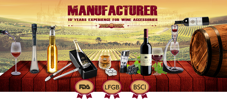 FDA & LFGB 2019 trending amazon wine gift Wine bottle Cooler Rod Stainless Steel Chilling Stick with Aerating