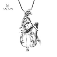 Sharon Wholesale Bulk DIY GIFT Charm Shy Mermaid Sterling Silver Cage Locket Pendant