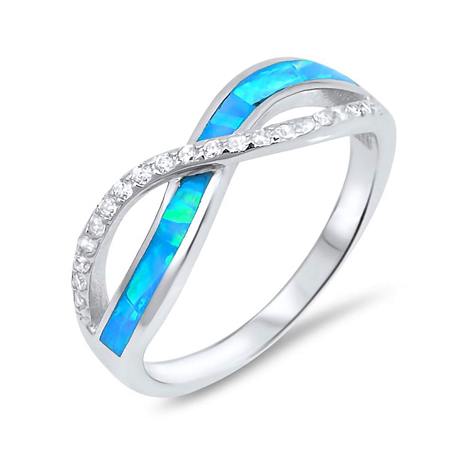 Infinity Created Opal Inlay with Cubic Zirconia 925 Sterling Silver Promise Ring Sizes 4-11