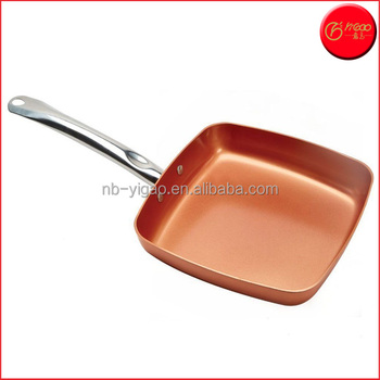 Nonstick Frying Pan Set 9 5 Inch Red Square Fry Pan With Ceramic Coating