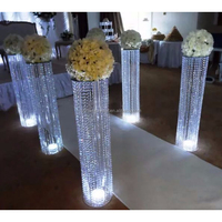 High quality 110cm tall round shape roman K9 crystal beaded wedding centerpieces walkway aisle column