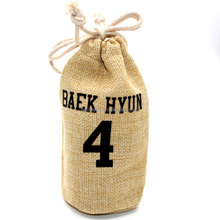 Small logo printing natural jute hessian water bottle shaped bag pouches