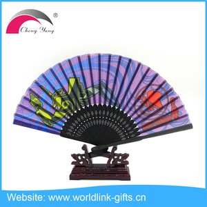Europe Style Bamboo Hand Held Fan Custom Customized Fabric Promotional Folding Hand Fan