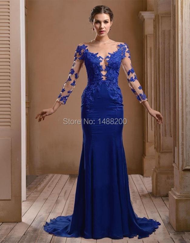 114e0da12 Vestidos de noche azul rey con encaje - Vestidos de colores para ...