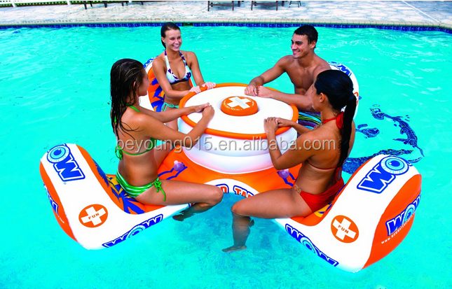 Funny games lounges/ Folding Texas Hold'em Inflatable Pool Poker Table With  4 floating