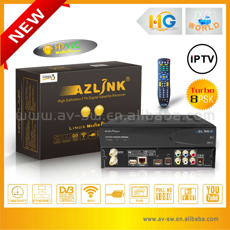 IPTV media player with DVB-S2 support HD sattellite receiver
