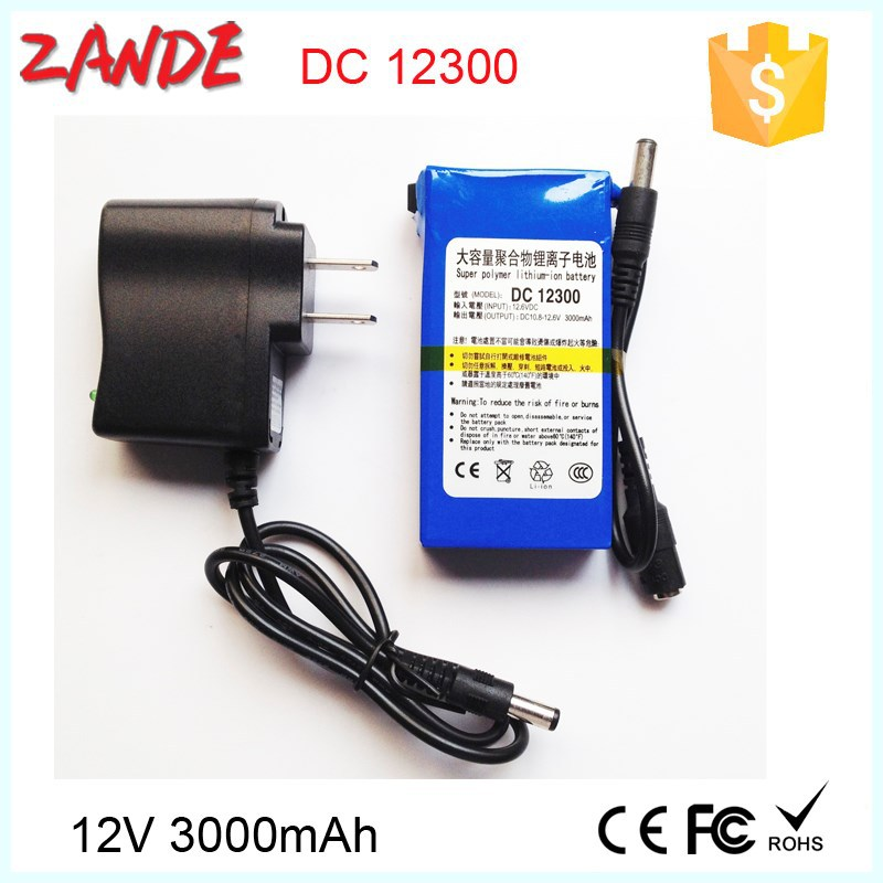 Super back up rechargeable 12v li-ion battery 3000mah for security cctv and LED with power supply welcome OEM