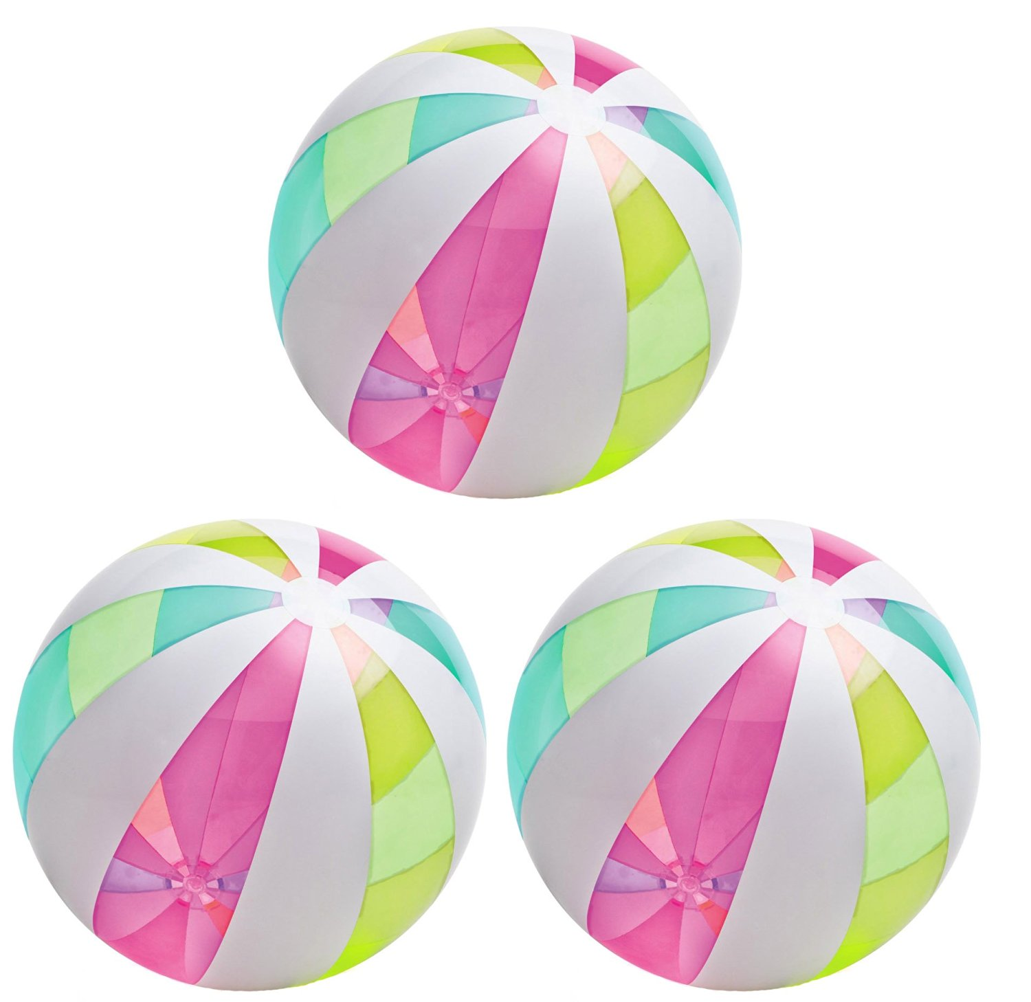 Intex Giant Classic Inflatable Glossy Panel Colorful Beach Ball (3-Pack)