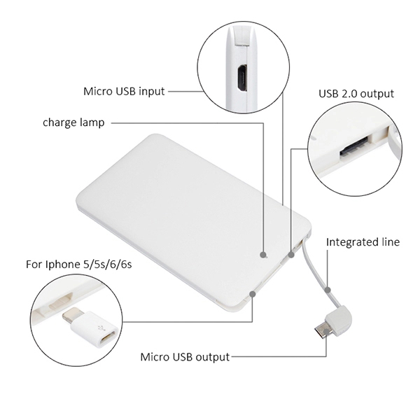 high quality powerbank 2 in 1 power bank mini portable 5000mah with build in usb cable for iphone for android for mobile phone