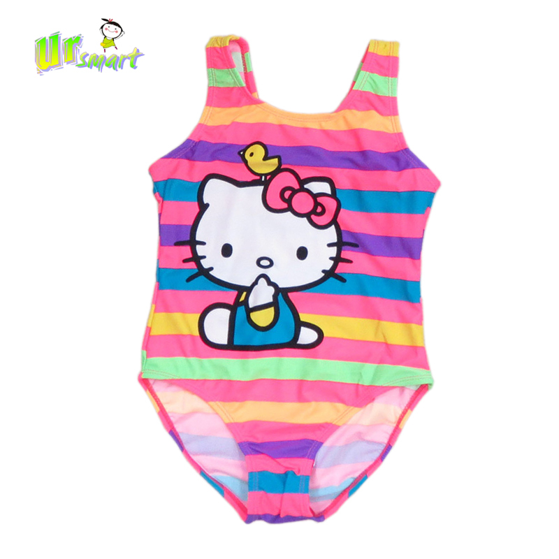 55abbac891 Buy Hello Kitty girls Swimwear Stripped one pieceswimsuit girls kids  bathing toddler Girl baby swimsuits Cartoon childrens swimwear in Cheap  Price on ...