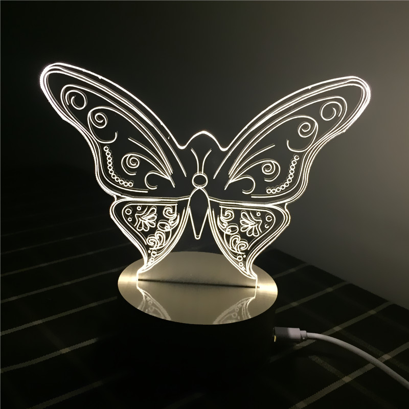 2016 new design customized creative gift LED table lamp butterfly 3D illusion night light